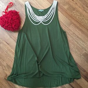 Anthropologie hi/low tank with rope weave.